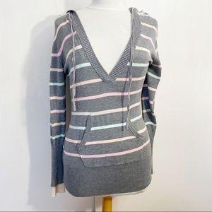 RUE 21 hooded v-neck longer length sweater L